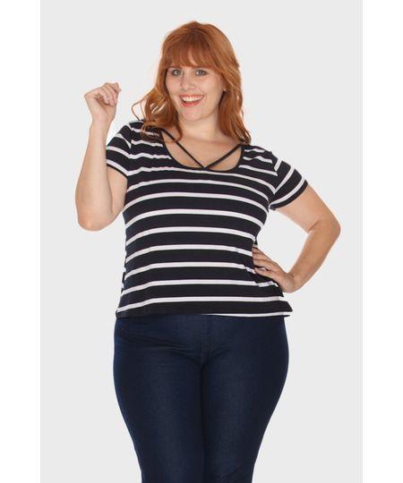 Blusa Listrada Tiras Plus Size