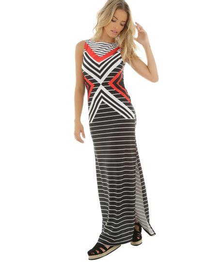 Vestido Longo Stripes Cia. Marítima Preto
