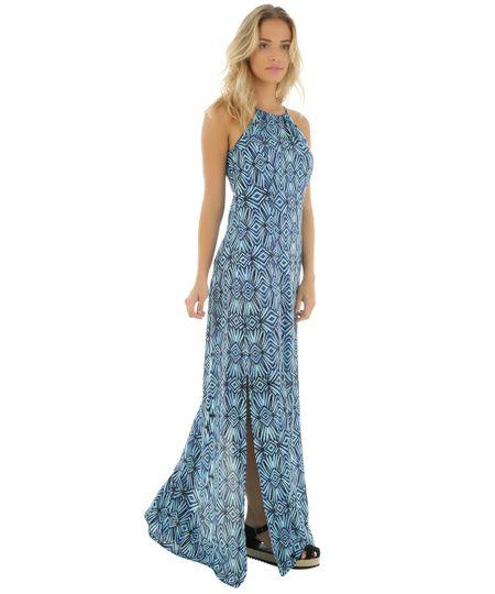 Vestido Longo Estampado Plumas Cia. Marítima Azul