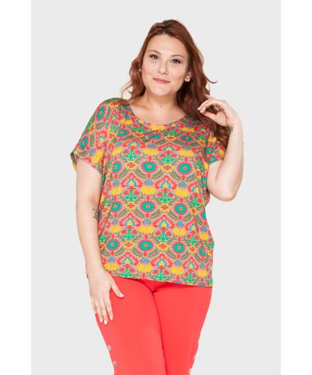 Blusa Estampada Floral Plus Size