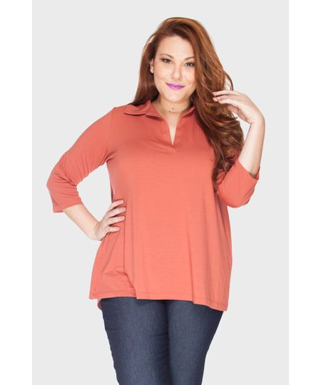 Blusa Polo Prega Plus Size