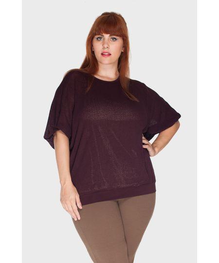 Blusa Tricô Boucle Plus Size