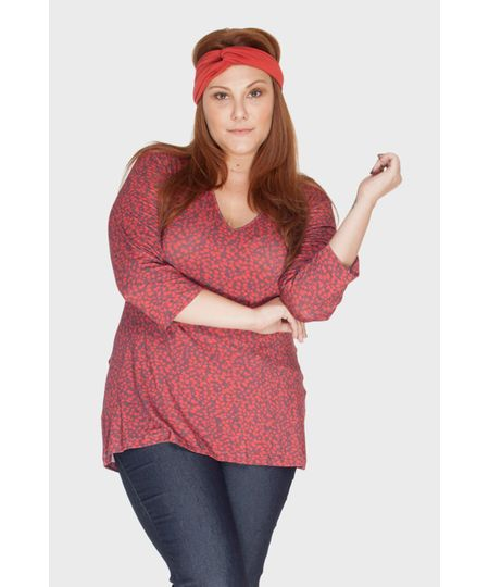 Blusa V Estampada Plus Size