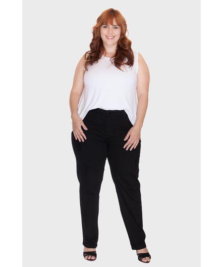 Calça Skinny Preta Lisa Plus Size