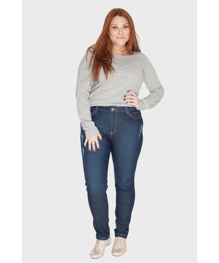 Calça Jeans Skinny Puídos Plus Size