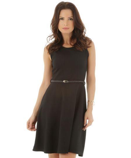 Vestido Texturizado com Cinto Preto