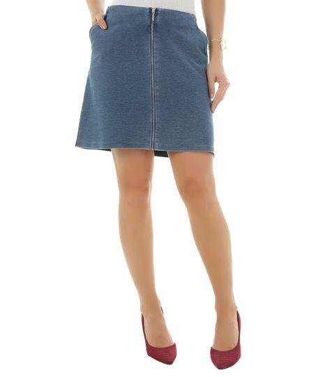 Saia Jeans em Moletom Azul Médio