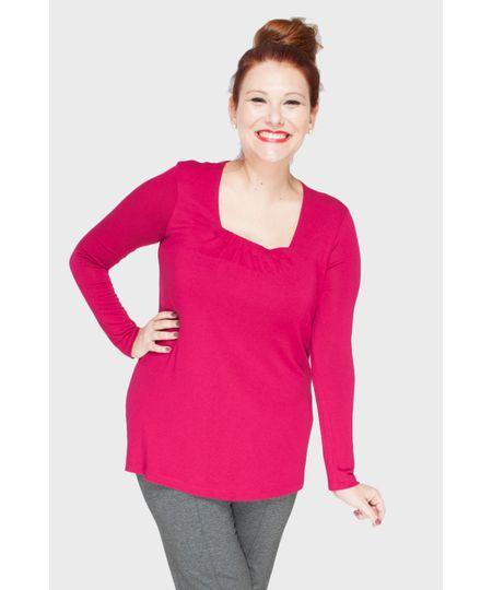 Blusa Elástico Decote Plus Size