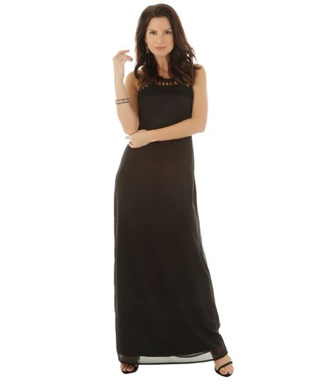 Vestido Longo com Renda Preto
