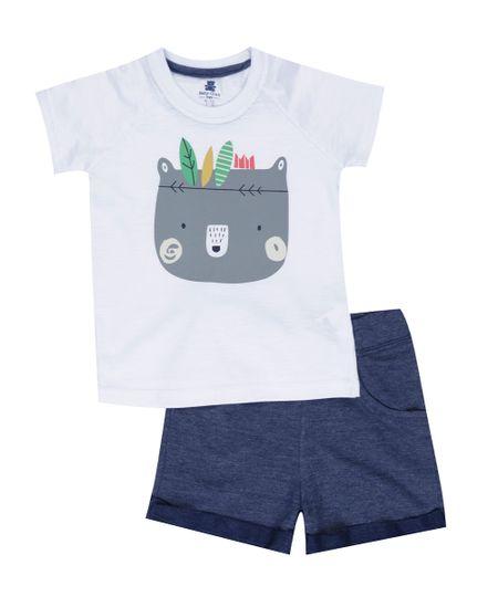 Conjunto de Camiseta Off White + Bermuda Azul Marinho