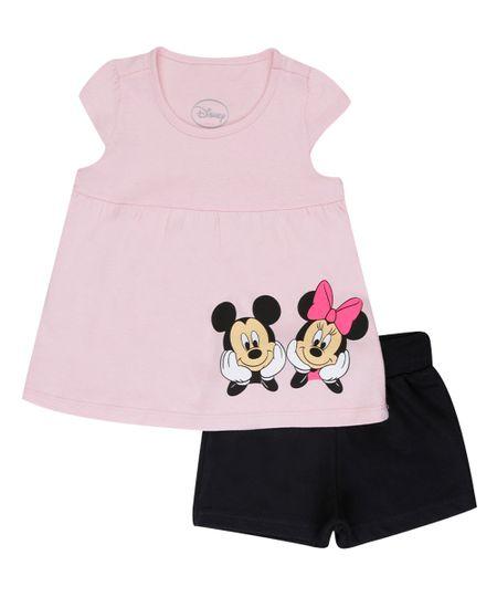 Conjunto Mickey & Minnie de Blusa Rosa Claro + Short Preto