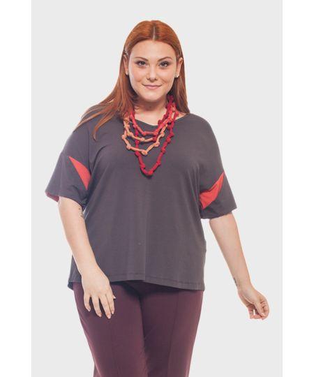 Blusa Mangas Bicolor Plus Size