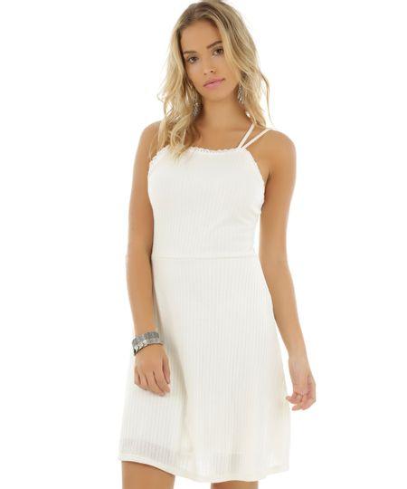 Vestido Canelado com Renda Off White
