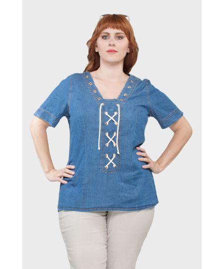 Camisa Ilhóses Plus Size