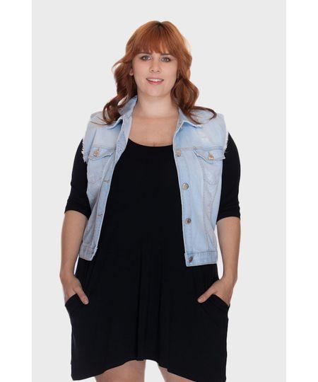 Colete Jeans Delavão Plus Size