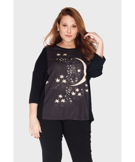 Blusa Estampa Estrelas Plus Size