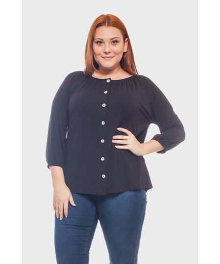 Blusa Decote Franzido Plus Size