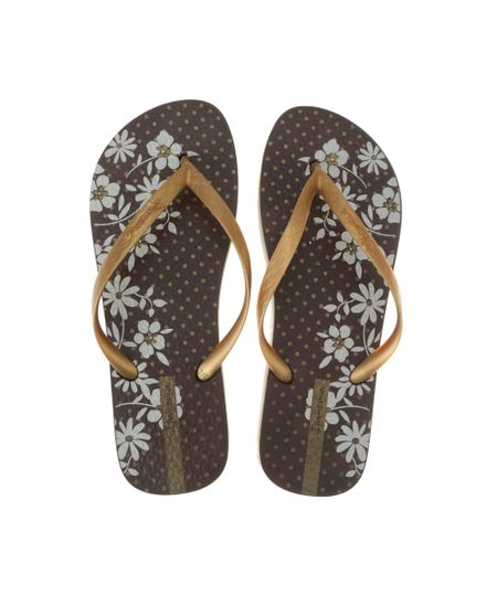 Chinelo Ipanema Floral Marrom