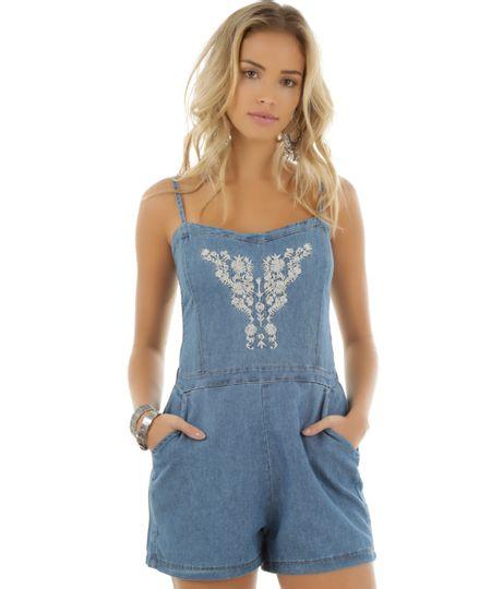 Macaquinho Jeans com Bordado Azul Médio