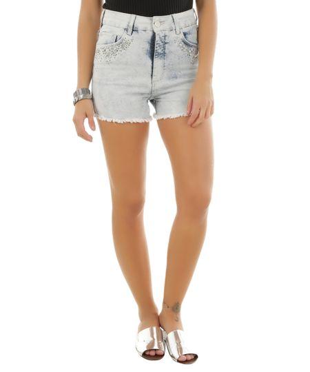 Short Hot Pant Jeans com Brilho Azul Claro