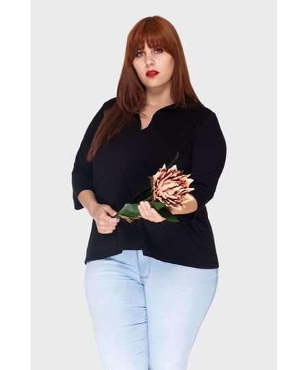 Blusa Polo Pregas Plus Size