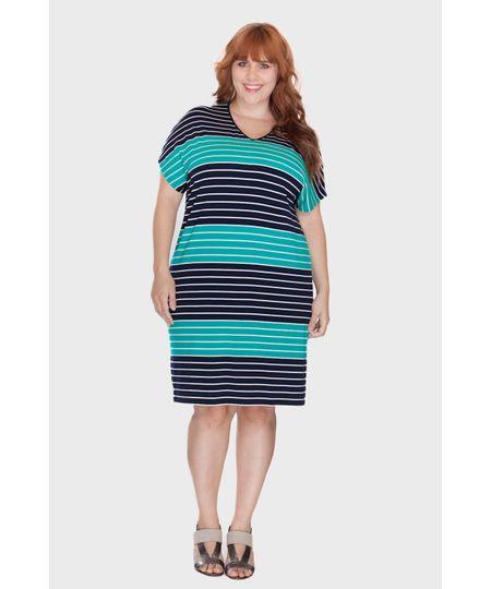 Vestido Listra Bicolor Plus Size