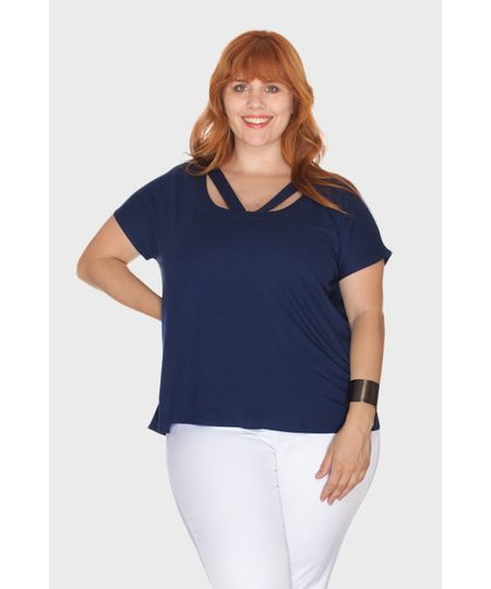 Blusa Tiras Decote Plus Size