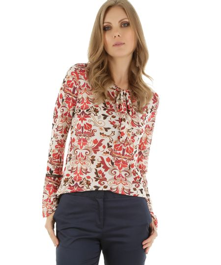 Blusa Estampada Floral Off White