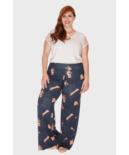 Calça Pantalona Tropical Plus Size