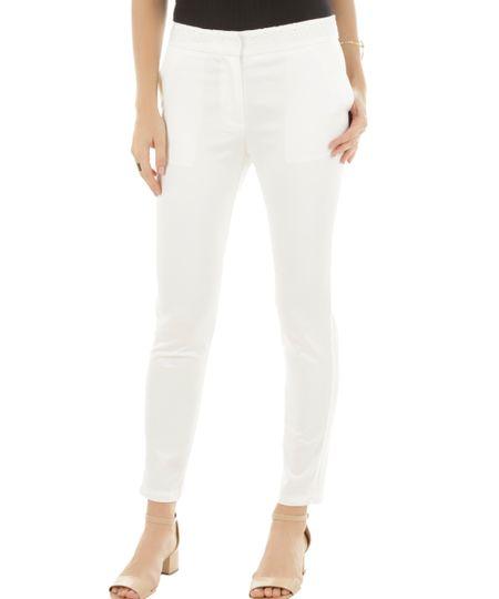 Calça Skinny com Laise Off White