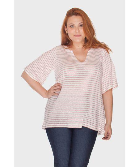 Blusa Linho Listrada Plus Size