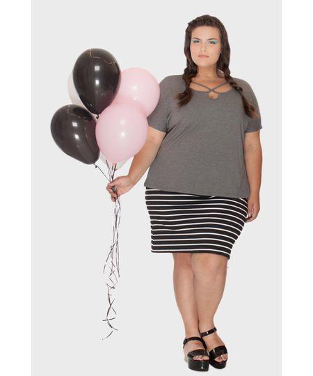 Blusa Malha Strappy Plus Size