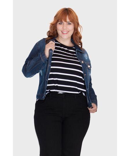 Jaqueta Jeans Puídos Plus Size