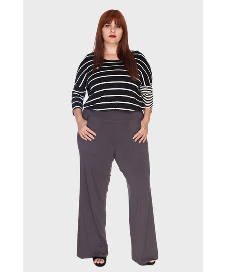Calça Pantalona Bolsos Plus Size