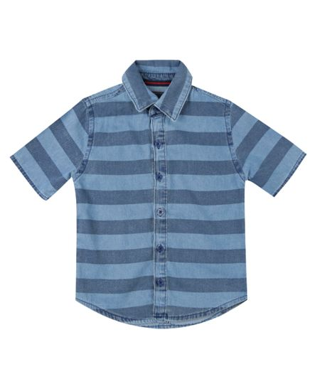 Camisa Jeans Listrada Azul Médio