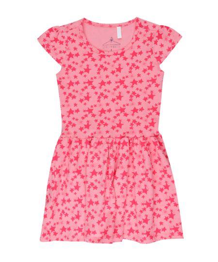 Vestido Estampado de Estrelas Rosa