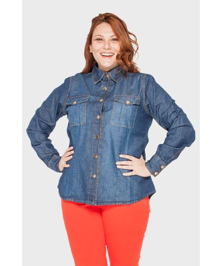 Camisa Jeans Bolso Cargo Plus Size