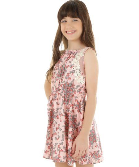 Vestido Estampado de Borboletas Rosa Claro