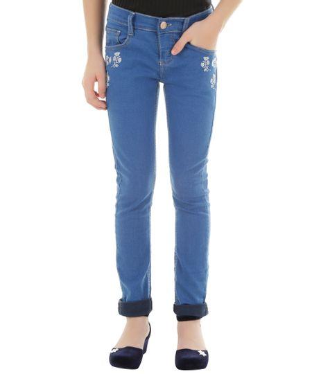 Calça Jeans com Bordado Azul Médio