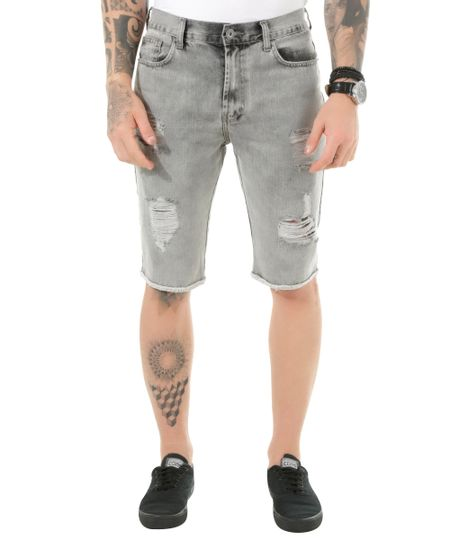Bermuda Jeans Slim Cinza