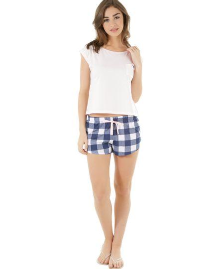 Pijama Xadrez Rosa Claro
