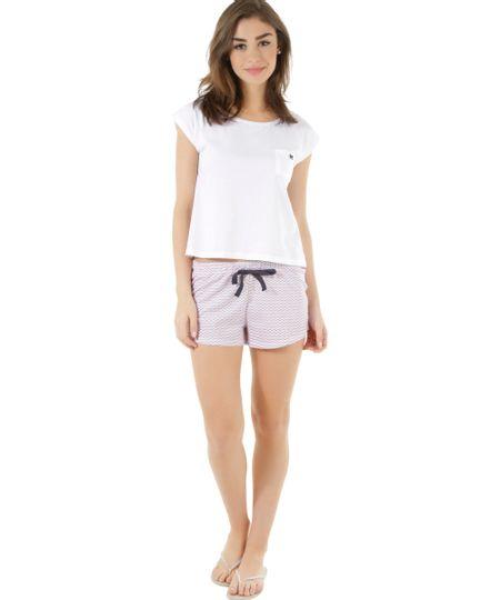 Pijama Estampado Geométrico Branco