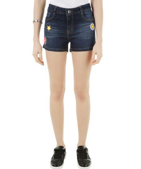 Short Jeans com Patch Azul Escuro