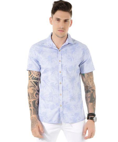 Camisa Estampada de Coqueiros Azul Claro