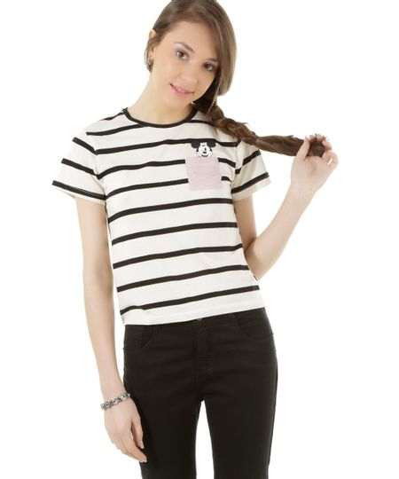 Blusa Mickey Listrada Off White