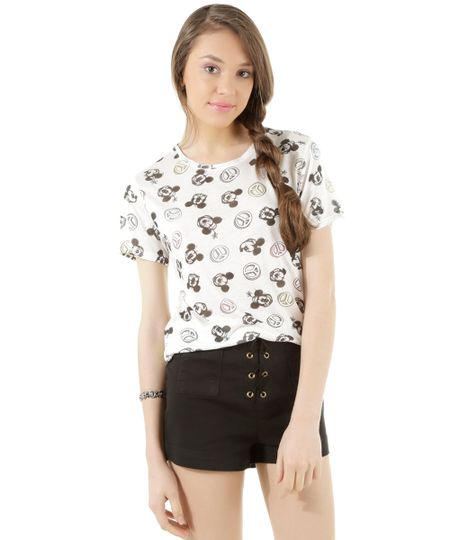 Blusa Estampada Mickey & Minnie Branca