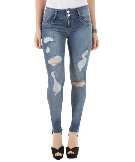 Calça Jeans Super Skinny Sawary Azul Médio