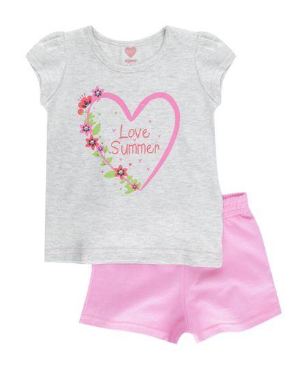 Conjunto de Blusa Cinza Mescla + Short Rosa