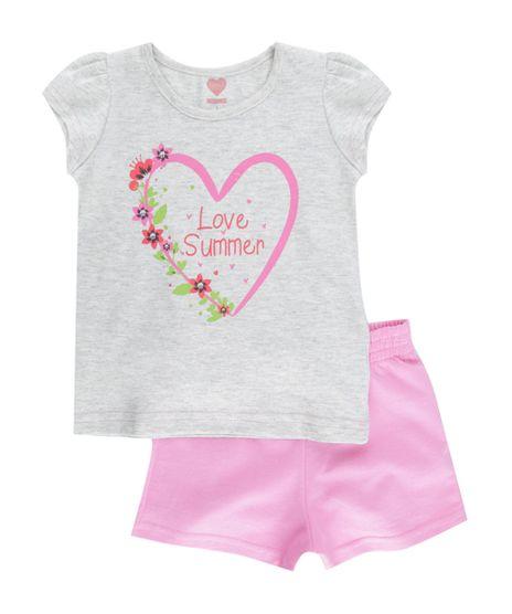 Conjunto-de-Blusa-Cinza-Mescla---Short-Rosa-8518339-Rosa_1