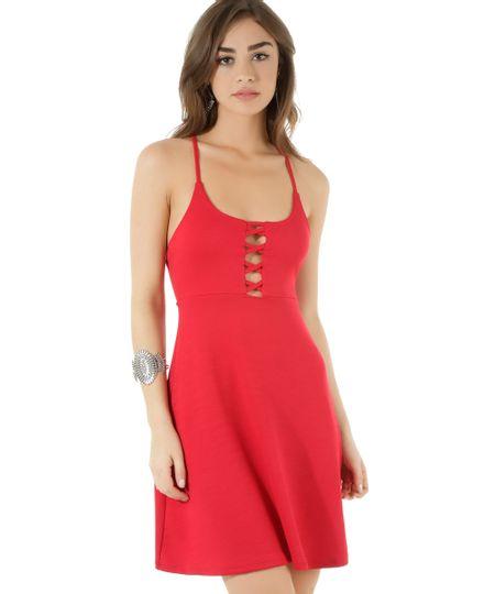 Vestido com Tiras Vermelho